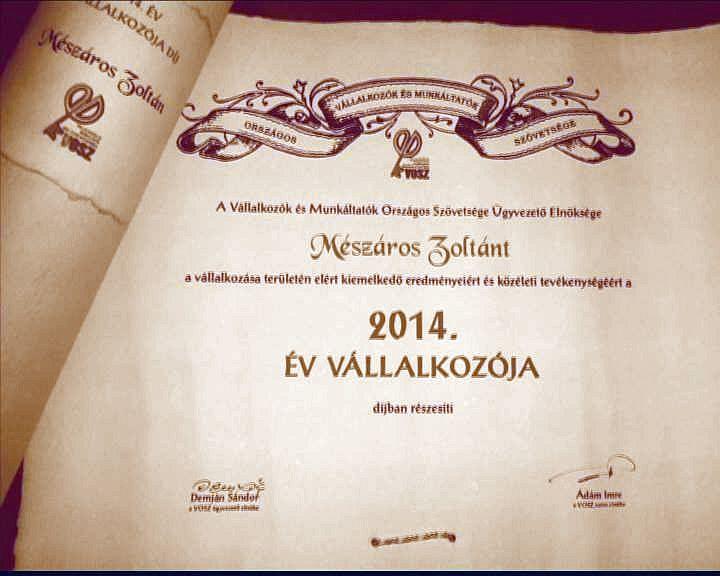 Mészáros Zoltán elismerése